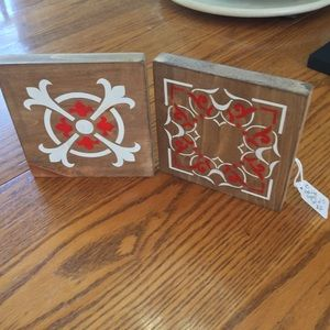2/$20 Pair red white handmade painted wood signs